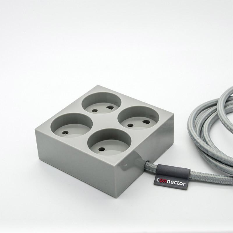 Kæmpestor Forlængerledning Connector granite grey luxusmodellen inden for el. SZ85