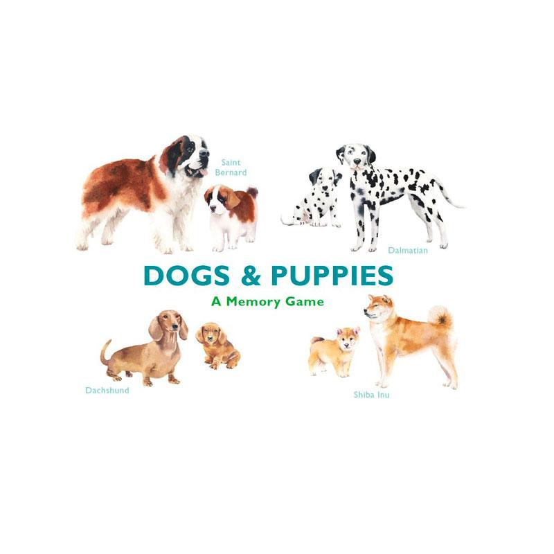 Huskespil med smukke illustrationer af hunde og deres hvalpe