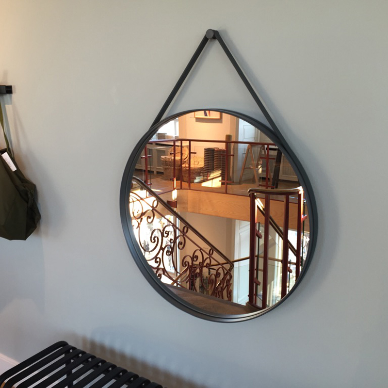 hay strap mirror anthracite 70cm moderne spejl til hele huset. Black Bedroom Furniture Sets. Home Design Ideas