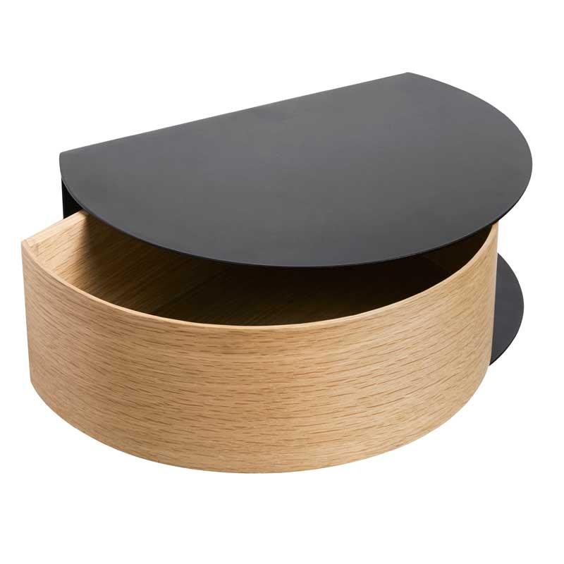 Fabriksnye Woud Wallie metalhylde med egetræsskuffe - Et helt genialt entremøbel XO-23
